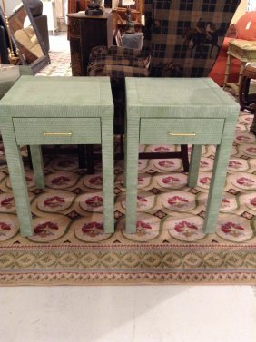 Pair Bielecky Bros. Painted Cane Side Tables