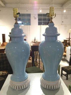 Pair Clair De Lune Ginger Jar Lamps