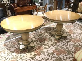 Pair Paint Decorated Center Or Dining Tables