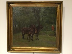 Equestrian Painting, Oil On Canvas