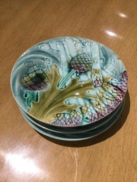 (3) Luneville French Majolica Artichoke Plates