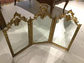 French Bronze Trifold Vanity Mirror