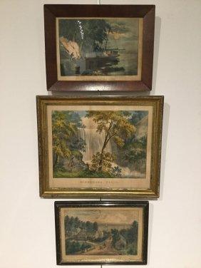 (3) Antique Currier & Ives Color Lithographs