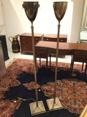 Pair Regency Style Silver Plated Torchiere Lamps