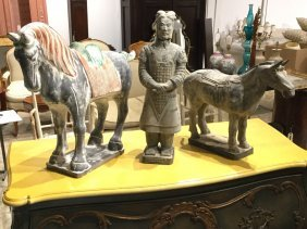(3) Large Chinese Archaic Style Ceramic Figures