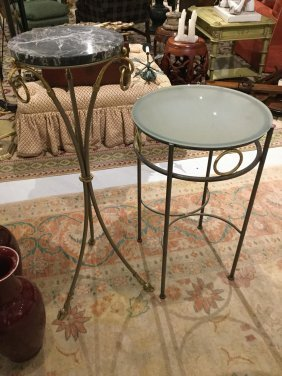 (2) Jansen Style Steel/brass Occasional Tables