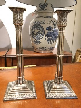 Pair English Silver Plated Column Candlesticks