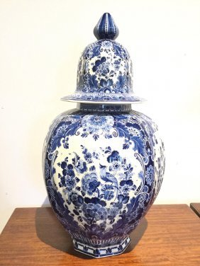 Large Delft Pottery Jar And Cover