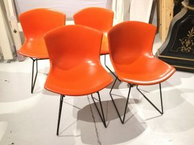 Set (4) Bertoia For Knoll Assoc. Chairs