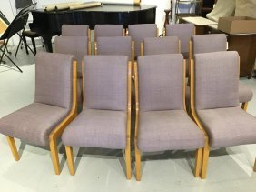 Set (12) Art Deco Style Maple Dining Chairs