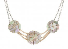 A CHANEL MOTHER-OF-PEARL NECKLACE
