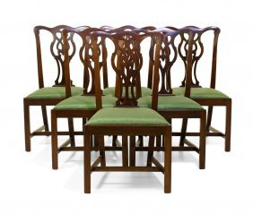 A Set Of Six Chippendale Style Dining Chairs