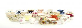 A Collection Of Sixteen English Porcelain Teacups And