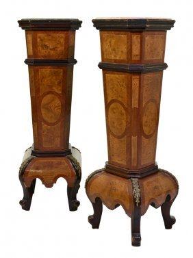 A Pair Of Continental Style Burl Walnut And Kingwood