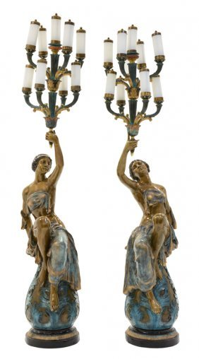 A Pair Of Continental Style Patinated Metal Figural