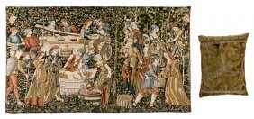 A Belgian Wool And Cotton Tapestry