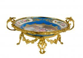 A Sevres Style Porcelain Ormolu Mounted Charger