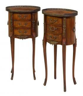 A Pair Of Louis Xv Style Parquetry And Ormolu Mounted
