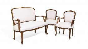 A Louis Xv Style Walnut Salon Suite