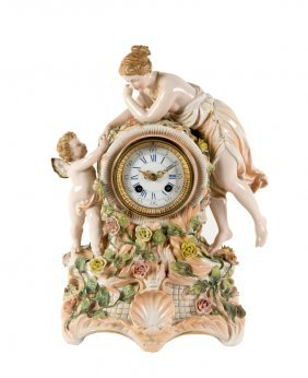 A Dresden Porcelain Figural Mantel Clock, Likely
