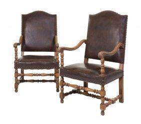 A Pair Of Renaissance Revival Walnut Armchairs