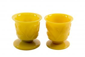 Two Chinese Peking Glass Imperial Yellow Short Stem