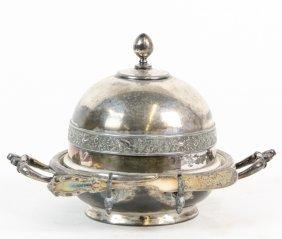 A Silver-plate Butter Dish And Cover