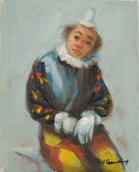 Bill Connroy, (20th Century), Portrait Of A Clown, Oil