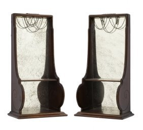 A Pair Of Decorative Mirrored Shelves