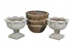 A Pair Of Continental Style Garden Urns And A Large