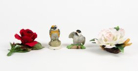 Two Boehm Porcelain Birds And Two Porcelain Roses