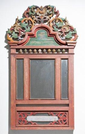 A Burmese Carved Wood Mirror