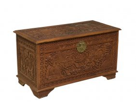 A Continental Carved Blanket Chest