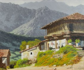 A Village Among Mountains, Oil On Canvas