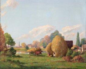 Landscape Oil Painting After Joseph Harencz