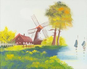 Landscape With Windmill, Oil On Panel