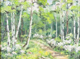 Forest Scene, Oil On Canvas