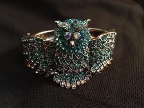 Swarovski Crystal Great Owl Silver Bracelet
