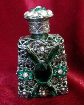 Bohemian Czech Emerald Green Perfume Bottle