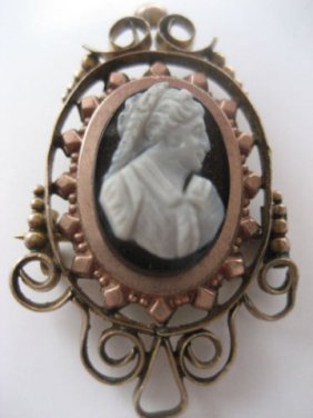 Queen Victoria Carved Onyx Mourning Cameo, Pendant
