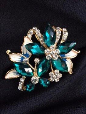 Vintage Crystal Enamel Butterfly & Flower Brooch