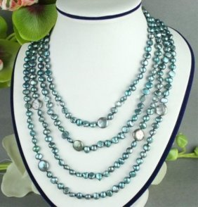 Multi-strand Green Gray Coin Pearl Necklace
