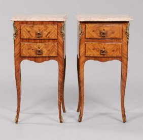 Pair Of French Louis Xv-style Marquetry Commodes