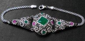 Emerald & Pink Ruby Marcasite Sterling Bracelet