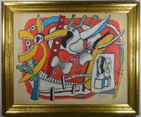 Oil On Board Abstract Fernand Leger (attr)