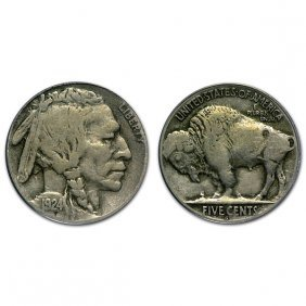 1924 S Buffalo Nickel - Fine - 1/2 Horn
