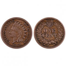 1864 Indian Head Cent Copper - Vf