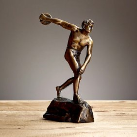 "Bronze Greek Discus Thrower Figure 13"""
