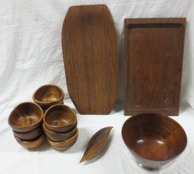 Mid- Century Teak Trays And Large Bowl