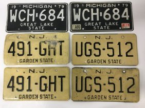Six Vintage New Jersey And Michigan License Plates